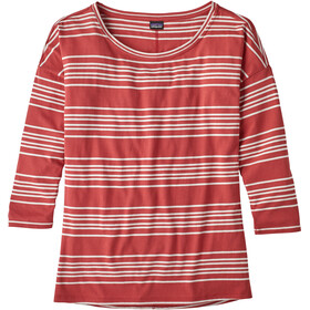 Patagonia Shallow Seas 3/4 Sleeved Top Women Lightning Stripe: Static Red